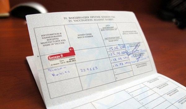 Паспорт животного с отметками о вакцинации