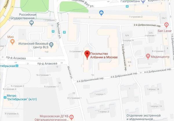 Схема расположения албанского посольства