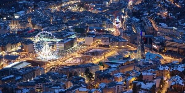 Андорра зимней ночью