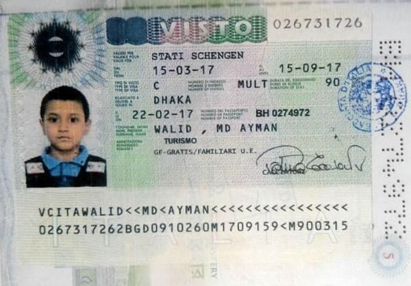Детская виза в Италию