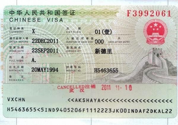 China Visa X