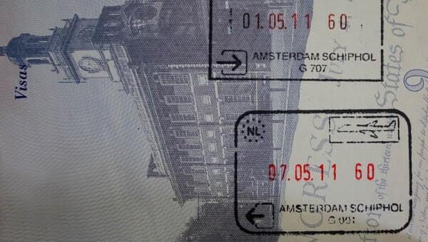 Штамп о прибытии в Амстердам