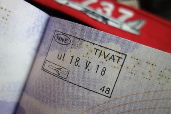 Отметка о въезде в Черногорию