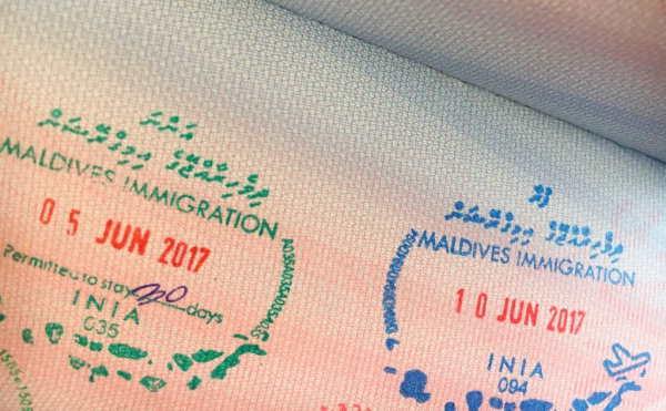 Штамп иммиграционной службы Мальдив