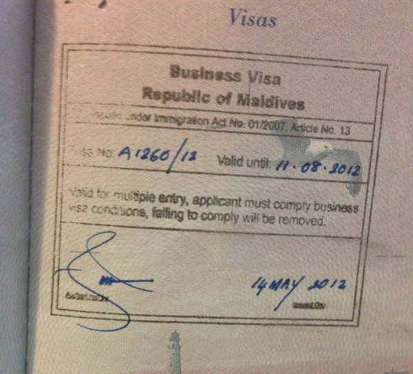 Бизнес виза Мальдив