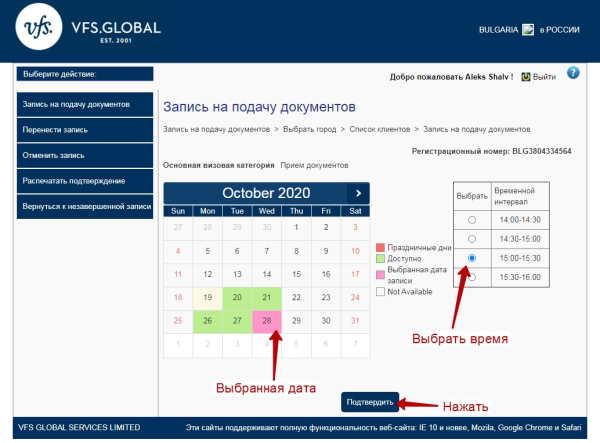 Выбор времени подачи документов на визу
